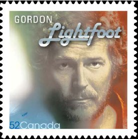 photo of Gordon Lightfoot stamp issued by Canada Post in 2009.